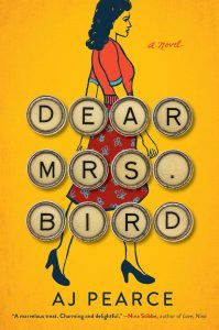 Books to Make You Smile: Yellow Cover of Dear Mrs. Bird with a Retro Lady Walking